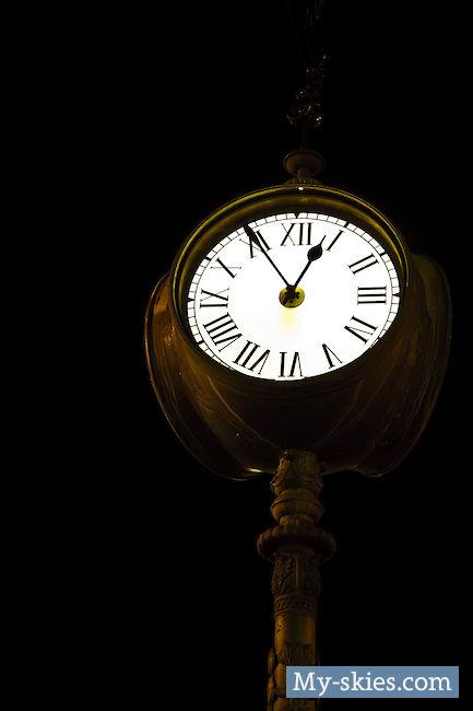 Old Street Clock at Night — Košice, Slovakia