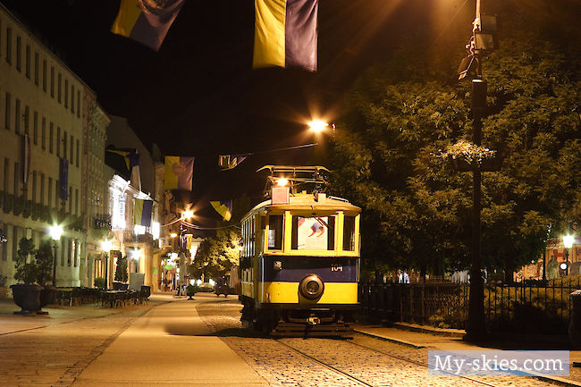 Historic tram at night in Košice